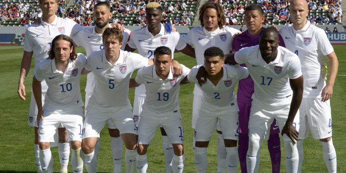 Feb 8, 2015; Carson, CA, USA; Members of the United States national team pose before international friendly against Panama at StubHub Center. Front row: Mix Diskerud (10), Matt Besler (5), Miguel Ibarra (19), DeAndre Yedlin (2) and Jozy Altidore (17). Back row: Brek Shea (11), Clinte Dempsey (8), Gyasi Zardes (20), goalkeeper Nick Rimando (1) and Michael Bradley (4). Mandatory Credit: Kirby Lee-USA TODAY Sports