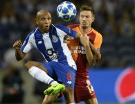 Porto's Algerian midfielder Yacine Brahimi (L) vies with Galatasaray's Norwegian defender Martin Linnes during the UEFA Champions League group D football match between FC Porto and Galatasaray SK at the Dragao stadium in Porto on October 3, 2018. (Photo by MIGUEL RIOPA / AFP)        (Photo credit should read MIGUEL RIOPA/AFP/Getty Images)